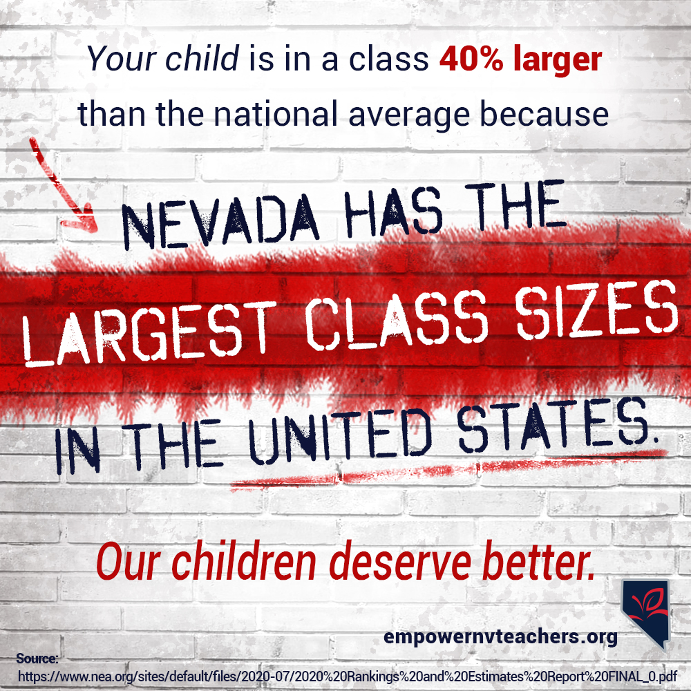 graphic about nevada having the largest class sizes in NV